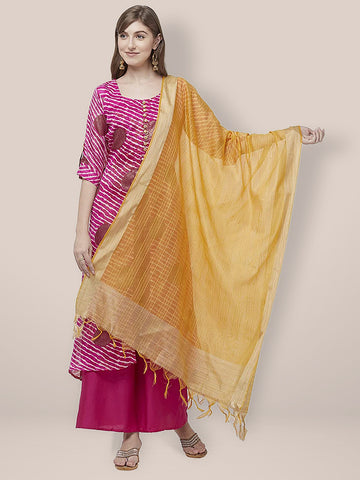 Dupatta Bazaar Woman's Yellow Cotton Silk Dupatta with Golden Woven Border. - Dupatta Bazaar