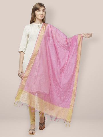 Dupatta Bazaar Woman's Pink Cotton Silk Dupatta with Golden Woven Border. - Dupatta Bazaar