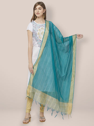 Dupatta Bazaar Woman's Teal Blue Cotton Silk Dupatta with Golden Woven Border. - Dupatta Bazaar