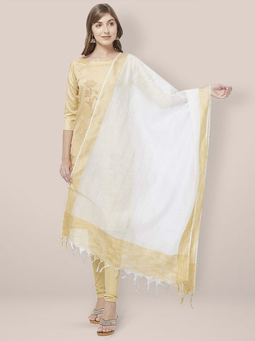 Dupatta Bazaar Woman's White Cotton Silk Dupatta with Golden Woven Border. - Dupatta Bazaar