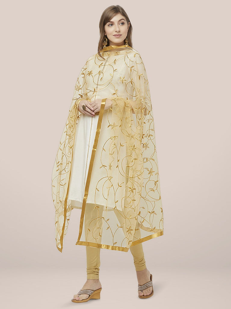 Floral Embroidered Gold Net Dupatta