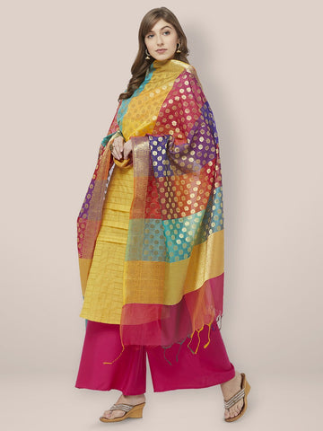 Woven Multicolored Banarasi Silk Dupatta