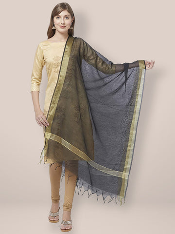 Dupatta Bazaar Woman's Black Cotton Silk Dupatta with Gold Borders. - Dupatta Bazaar