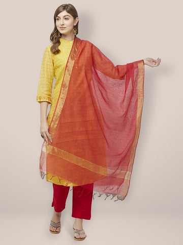 Dupatta Bazaar Woman's Red Cotton Silk Dupatta with Gold Borders. - Dupatta Bazaar
