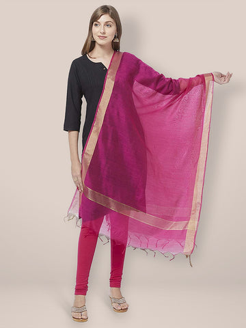 Dupatta Bazaar Woman's Pink Cotton Silk Dupatta with Gold Borders. - Dupatta Bazaar