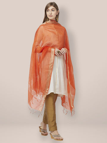 Dupatta Bazaar Woman's Orange Cotton Silk Dupatta with Gold Borders. - Dupatta Bazaar