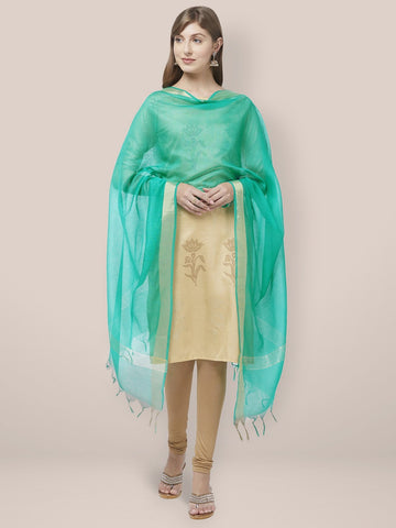Sea Green Cotton Silk Dupatta with Gold Borders.