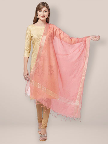 Dupatta Bazaar Woman's Peach Cotton Silk Dupatta with Gold Borders. - Dupatta Bazaar