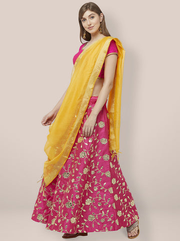 Dupatta Bazaar Woman's Yellow Cotton Silk Dupatta with Gold Borders. - Dupatta Bazaar