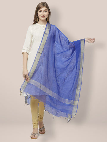 Dupatta Bazaar Woman's Blue Cotton Silk Dupatta with Gold Borders. - Dupatta Bazaar