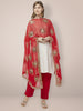 Embellished Red Chiffon Dupatta.