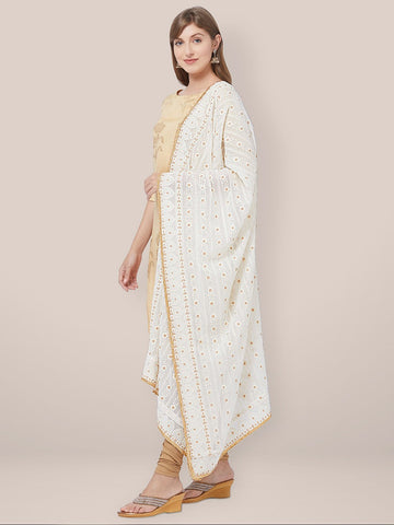 Dupatta Bazaar Woman's Off White Georgette Dupatta with Lucknowi Embroidery.