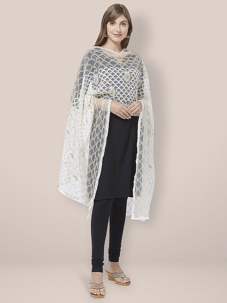 Off White Net Dupatta with Lucknowi Embroidery.