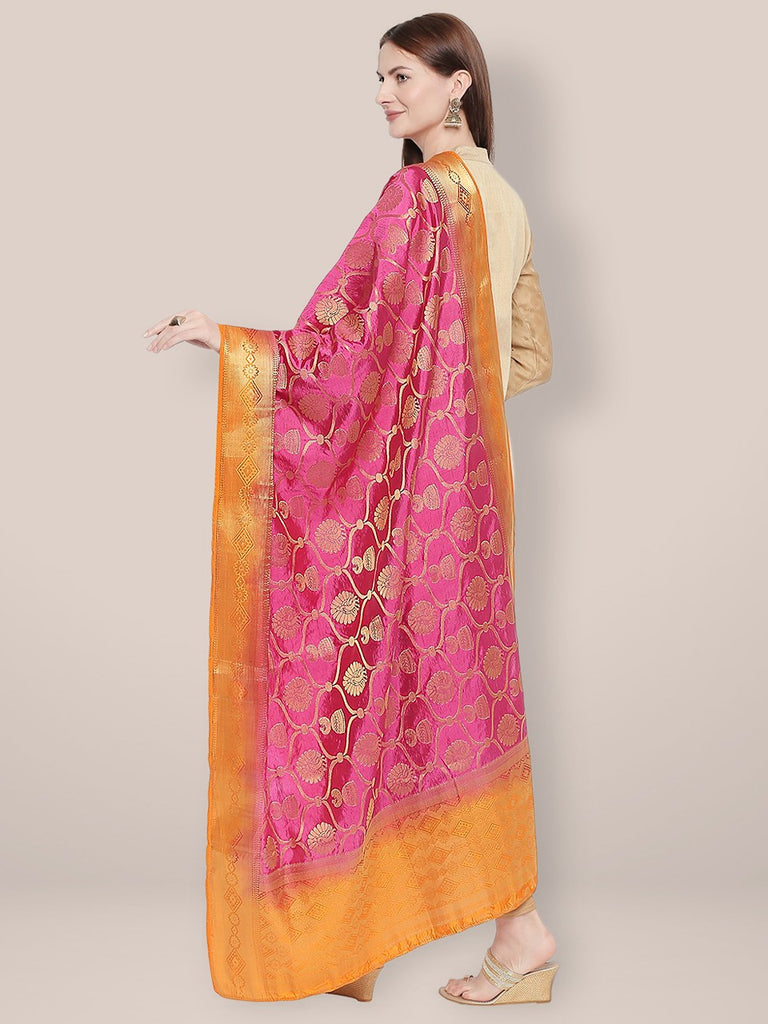 Woven Pink & Orange Banarasi Silk Dupatta