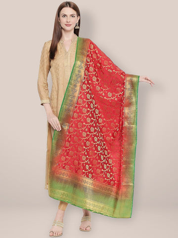 Woven Banarasi Red & Green Silk Dupatta