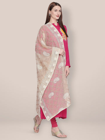 Dupatta Bazaar Woman's Off White & Gold Cotton Silk dupatta with Lucknowi Embroidery.