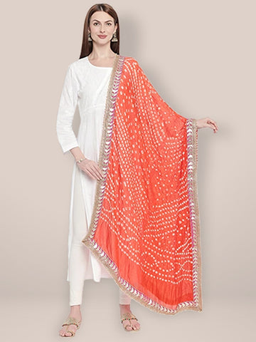 Dupatta Bazaar Woman's Orange Bandhini Silk dupatta with Gotta Patti Border. - Dupatta Bazaar