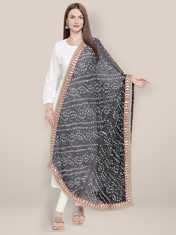 Dupatta Bazaar Woman's Black Bandhini Silk dupatta with Gotta Patti Border. - Dupatta Bazaar