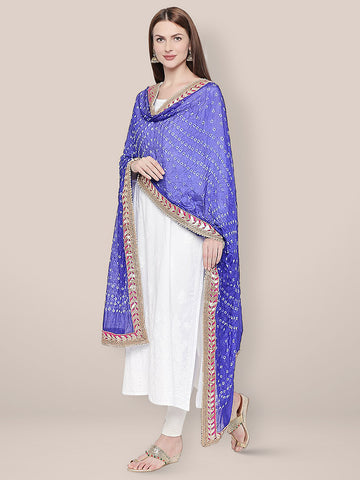 Dupatta Bazaar Woman's Blue Bandhini Silk dupatta with Gotta Patti Border. - Dupatta Bazaar