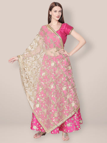 White & Gold Embroidered Net Dupatta.