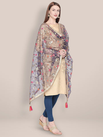 Embroidered Navy Blue & Gold Net Dupatta.