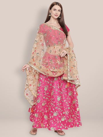 Multicoloured Embroidered Gold Net Dupatta.