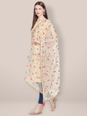 Embroidered White & Gold Net Dupatta.