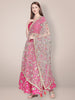 Floral Embroidered Grey & Gold Net Dupatta.