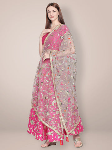 Embroidered Grey & Gold Net Dupatta.