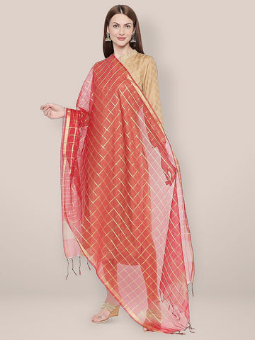 Checkered Red & Gold Blended Silk Dupatta.