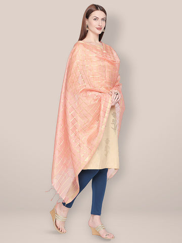 Dupatta Bazaar Woman's Checkered Peach & Gold Blended Silk Dupatta. - Dupatta Bazaar