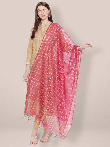Dupatta Bazaar Woman's Checkered Pink & Gold Blended Silk Dupatta. - Dupatta Bazaar