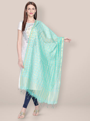 Dupatta Bazaar Woman's Checkered Sea Green & Gold Blended Silk Dupatta. - Dupatta Bazaar