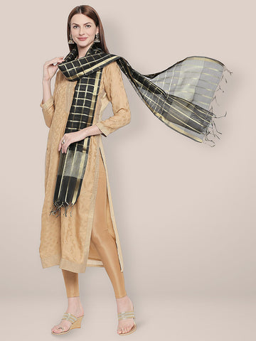 Dupatta Bazaar Woman's Checkered Black & Gold Blended Silk Dupatta. - Dupatta Bazaar