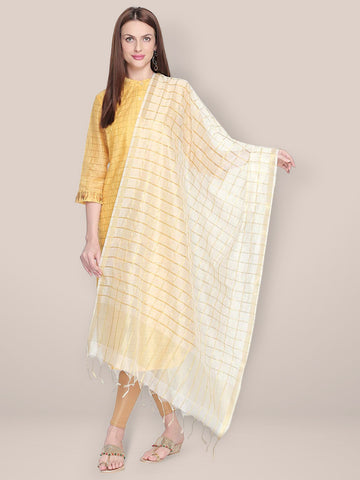 Dupatta Bazaar Woman's Checkered White & Gold Blended Silk Dupatta. - Dupatta Bazaar
