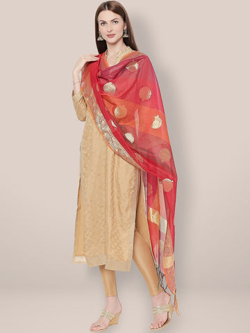 Dupatta Bazaar Woman's Woven Shaded Red Banarasi Silk Dupatta