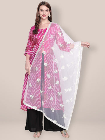 Dupatta Bazaar Woman's Embroidered White Net Dupatta. - Dupatta Bazaar