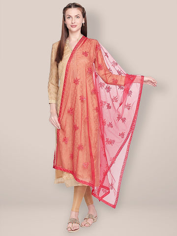 Dupatta Bazaar Woman's Embroidered Red Net Dupatta. - Dupatta Bazaar