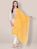 Embroidered Yellow Chiffon Dupatta.