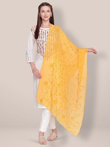 Dupatta Bazaar Woman's Embroidered Yellow Chiffon Dupatta. - Dupatta Bazaar