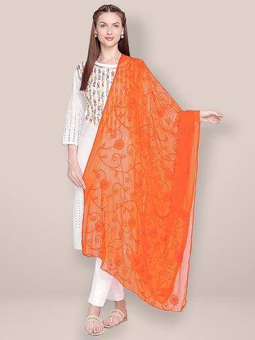 Dupatta Bazaar Woman's Embroidered Orange Chiffon Dupatta. - Dupatta Bazaar