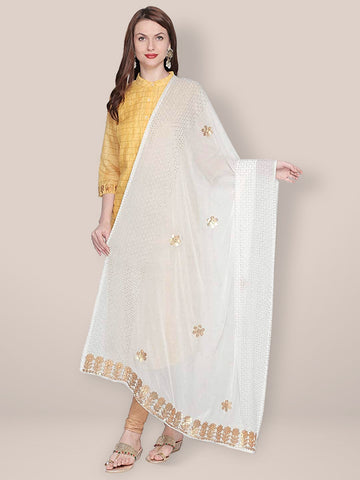 Dupatta Bazaar Woman's Embellished Chiffon Off White Dupatta with Gotta Patti work - Dupatta Bazaar
