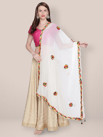 Dupatta Bazaar Woman's Embroidered White Chiffon Dupatta.