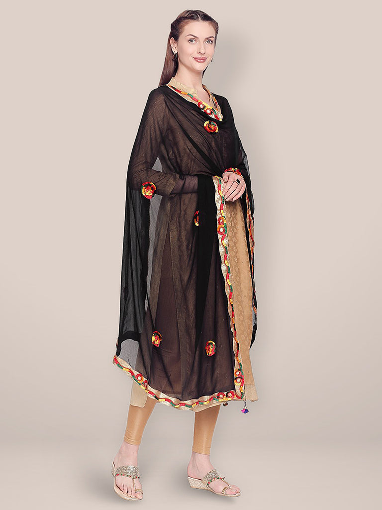 Embroidered Black Chiffon Dupatta.
