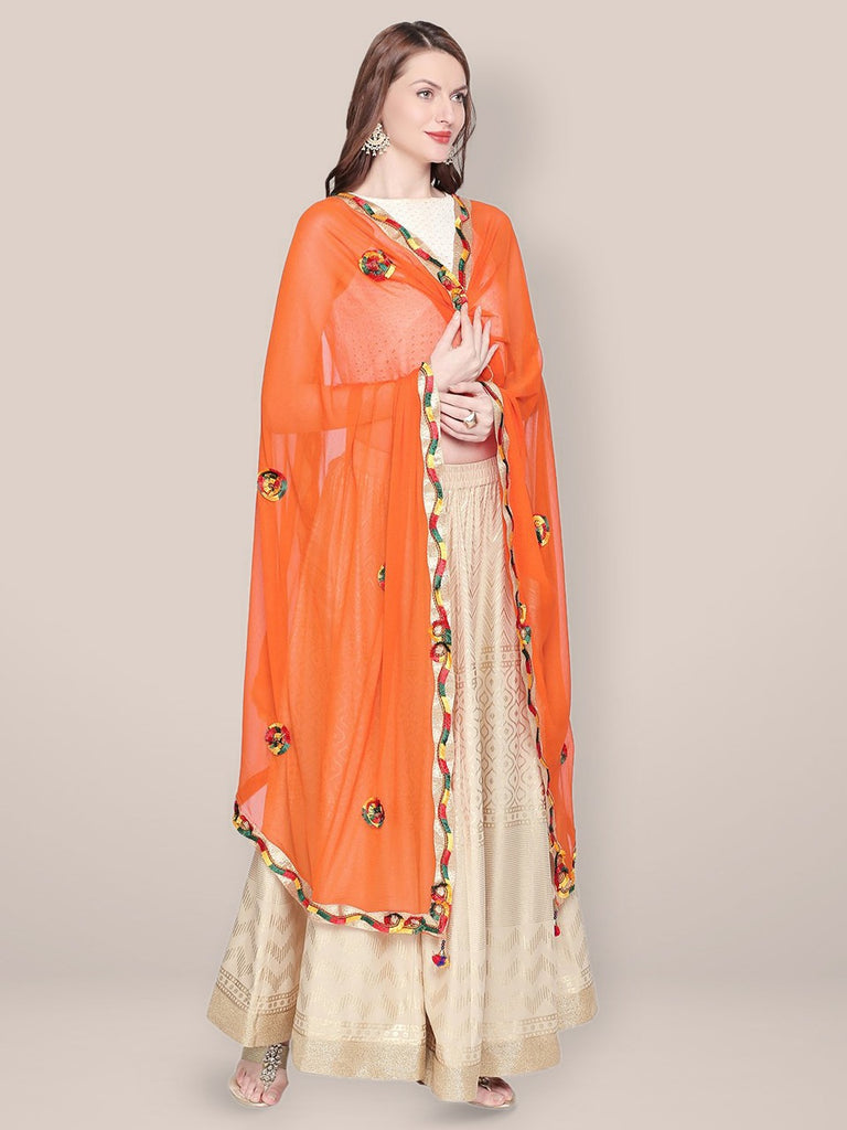 Embroidered Orange Chiffon Dupatta.