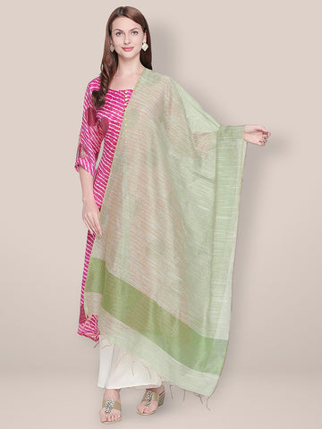 Dupatta Bazaar Woman's Blended Silk Green Dupatta.