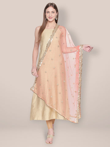 Dupatta Bazaar Woman's Embroidered Peach Net Dupatta. - Dupatta Bazaar