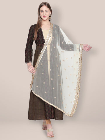 Dupatta Bazaar Woman's Embroidered Off White Net Dupatta. - Dupatta Bazaar