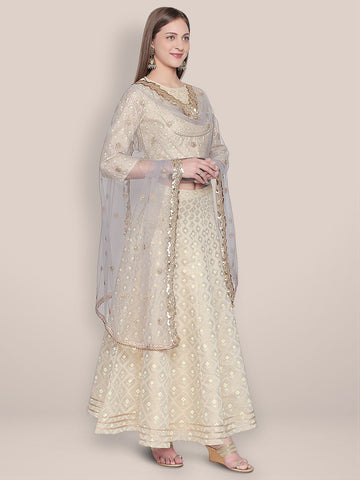 Embroidered Grey Net Dupatta.