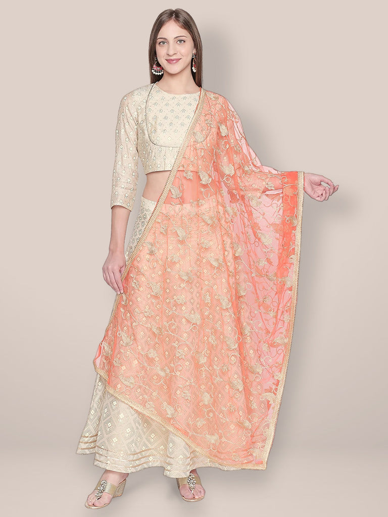 Embroidered Orange & Gold Net Dupatta.